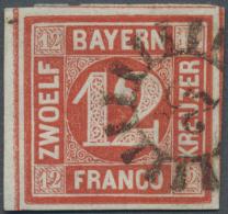 """1858, 12 Kreuzer Rot, Gestempeltes Randstück Mit Vier Schnittlinien, Gestempelt Mit GMR """"25"""". Tiefst Signiert... - Bavaria"""