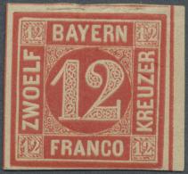 1858, 12 Kreuzer Rot Ungebraucht Mit Originalgummi, Tiefst Geprüft Sem Und Befund Stegmüller BPP (D) - Bavaria