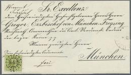 """1850, BISCHOFSBRIEF Mit VORAUSENTWERTUNG Der 9 Kr. Grün Mit OMR """"642"""", Ein UNIKAT!! - Quadratausgabe 9 Kreuzer... - Bavaria"""
