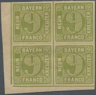 1850, 9 Kr. Gelbgrün Im Eckrand-Viererblock Aus Der Linken Unteren Bogenecke, Dabei Typfolge III/II/III/III,... - Bavaria