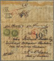 """1853, 9 Kr. Geblichgrün Im Waagerechten Paar Mit MR """"243"""" Auf Auslands-Faltbrief Aus """"NÜRNBERG... - Bavaria"""