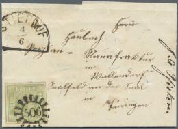 1850, 9 Kreuzer Mattblaugrün Der Ersten Auflage Auf Faltbrief Nach Wallendorf, Thüringen, Adressiert. Die... - Bavaria