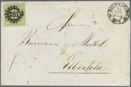 """1852: Brief Mit 9 Kreuzer Grün Ab """"281"""" REGENSBURG Nach Elberfeld. Rückseitig Wird Sehr Schön Anhand... - Bavaria"""