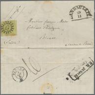 """1851, TEILFRANKO-BRIEF Aus Der Pfalz: 9 Kr Grün Mit Mühlradstempel """"173"""", Daneben Halbkreisstempel... - Bavaria"""
