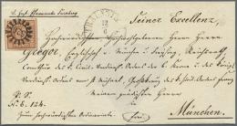 """1850, Luxus-BISCHOFSBRIEF Frankiert Mit 6 Kr. Braun Platte II Mit Zentrischem GMR """"526"""" Und Neben-HK """"TRAUNSTEIN... - Bavaria"""