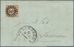 1849, 6 Kr. Braun Platte I Allseits Vollrandig (Oberrand Aus Optischen Gründen Verbreitert), Mit Klarem GMR 20... - Bavaria