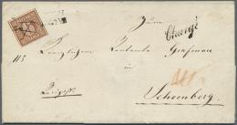"""1849, 6 Kreuzer Braunorange Entwertet Mit Federstrich Und L2 Sowie Beigesetzt Schreibschrift-""""Chargé""""-L1... - Bavaria"""