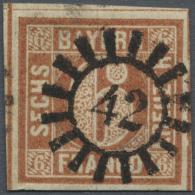 """1849, Freimarke 6 Kr Braunorange, Allseits Vollrandig Mit Drei Schnittlinien, Zentrisch Entwertet Mit GMR """"42""""... - Bavaria"""