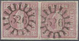 "1850, Freiamarke 1 Kr. Rosa Im Waagerechten Paar, Entwertet Mit Zwei GMR ""526"" (Obernzenn), Signiert Grobe. (D) - Bavaria"