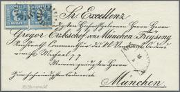 1850, Luxus Vordruck-BISCHOFSBRIEF Aus Mittenwald(!) Frankiert Mit Paar 3 Kr. Blau Platte II Mit Je Seltenem GMR... - Bavaria