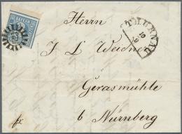 """1850, 3 Kr. Dunkelgraublau, Type 2 Von Der Rechten Oberen Bogenecke (etwas Oxidiert) Mit GMR """"521"""" Und Neben-HK... - Bavaria"""