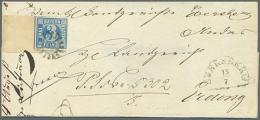 1850, Freimarke 3 Kr. Blau Platte II Auf Rückseitig Nicht Kompletter Briefhülle, Vollrandig (rechts... - Bavaria