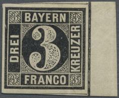 1850, Freimarke 3 Pf, PROBEDRUCK In Schwarz Auf Papier Ohne Seidenfaden Vom Rechten Bogenrand, Ungebraucht,... - Bavaria