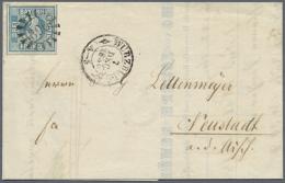 """1949, 3 Kr. Preußischblau, Platte 1, Allseits Breitrandig Mit Trennlinien An Drei Seiten Mit MR """"396"""" Auf... - Bavaria"""