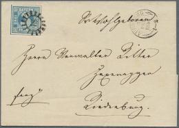 """1849, Freimarke 3 Kr. Blau Platte I, Allseits Breitrandige Marke Mit 4 Schnittlinien, Mit GMR """"18"""" Und... - Bavaria"""