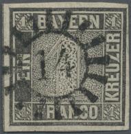 1849, 1 Kr. Scharz, Platte 2, Farbrisches, Allseits Voll- Bis Breitrandiges Exemplar, Links Mit Schnittlinie,... - Bavaria