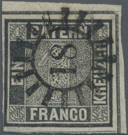 1849, 1 Kr. Schwarzer Einser, Platte 2 In Grauschwarz Aus Der Rechten Oberen Bogenecke In Gestempelter Erhaltung,... - Bavaria