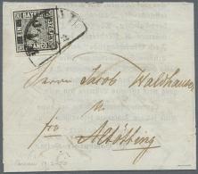 1849: 1 Kreuzer Schwarz, Platte 1, Sehr Tieffarbiges Und Allseits Breit Bis überrandiges LUXUSSTÜCK Mit... - Bavaria