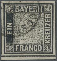 1849, 1 Kr. Schwarz, Platte 1, Farbfrisches, Allseits Breitrandiges Exemplar Mit Teilen Von Drei Schnittlinien, Vom... - Bavaria