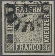 1849, 1 Kr. Grauschwarz, Platte 1, Farbfrisches, Allseits Breitrandiges Exemplar Mit Teilen Aller Schnittlinien,... - Bavaria