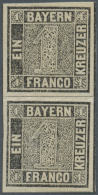 """1849, Freimarke, Sog. """"Schwarzer Einser"""" Im Senkrechten Paar, Postfrisch Mit Senkrechten Knitterungen. (D) - Bavaria"""