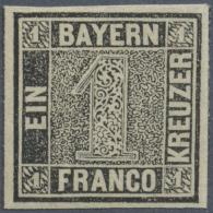 1849, Schwarzer Einser Vollrandiges, Postfrisches Exemplar Mit Originalgummi, Tief Geprüft Pfenninger Und... - Bavaria