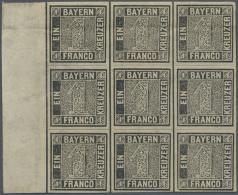 1849: 1 Kreuzer Grauschwarz, Platte 1, Ungebrauchter Neunerblock Vom Linken Bogenrand. Sechs Der Marken Mit... - Bavaria