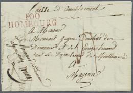 """""""100 HOMBOURG"""", Roter L2 Glasklar Auf Komplettem Faltbrief (datiert 1813) Mit Tax-Vermerk Nach Mainz, Luxus (Feuser... - Bavaria"""