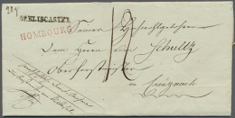 """""""DE BLISCASTEL"""", Schwarzer L1 Klar Auf Komplettem Faltbrief (datiert 1813) Via Homburg Mit Rotem L1 """"HOMBOURG"""" Und... - Bavaria"""