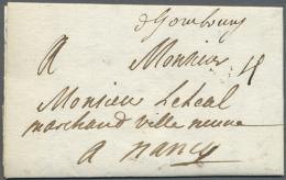 """""""D'Hombourg"""", Handschriftlicher Aufgabevemerk Auf Komplettem Faltbrief (datiert 1709) Nach Nancy In Sehr Guter... - Bavaria"""