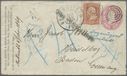 1869, 3 C Rosa US-Ganzsachenumschlag Mit Zusatzfrankatur Von Springfield Nach Heidelberg Mit Blauem... - Baden