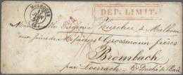 """1850, Roter Doppel-Ra2 """"DEP. LIMIT."""" (Grenz-Departement) Auf Couvert (etwas Altersspuren) Von """"MULHOUSE 17 JUIN 50""""... - Baden"""