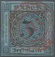"""""""115"""" Rastatt In Rot, Ideal Zentriert Bzw. Glasklar Auf 3 Kr. Schwarz Auf Blau, Vollrandig, Kleine Mängel, Die... - Baden"""