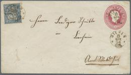 1862/63, Ganzsachenumschlag 3 Kreuzer Rot, Kleines Format Mit SCHWEIZER-Zusatzfrankatur Sitzende Helvetia 10 Rp.... - Baden