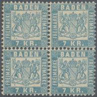 """1868, 7 Kr. Hellblau Im Postfrischen 4-er Block Mit Altattest Bühler """"in Jeder Beziehung Echt Und In Feinster... - Baden"""