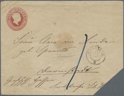 1858, 9Kr. Ganzsache, Gelaufen Constanz-Darmstadt, R.u. Ecke Fehlt. (Mi. 1.000,-€). (D+) - Baden