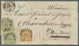 1862/68, 30 Kreuzer Orangegelb In Mischfrankatur Mit 1 Kr Hellgrün Im Senkr. Paar, Entwertet Mit K2... - Baden