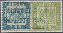 """1838, 1 Kr. Grün Und 7 Kr. Blau Mit Blauem Ra2 """"BADISCHES (JUSTI)ZMINISTERIUM"""", Beide Werte Mit Falz Auf... - Baden"""
