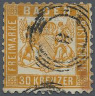 """1862, 30 Kr. (dunkel)gelborange Mit Zentrischem Nr.-St. """"8"""" (Baden), Farbfrische Marke, Zähnung Dreiseitig... - Baden"""