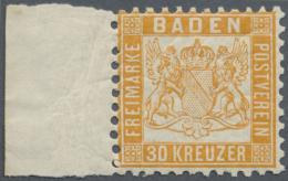 1862, 30 Kr. Lebhaftgelblichorange, Postfrisches Kabinett-Stück Mit Linkem Rand, Doppelt Signiert Englert BPP,... - Baden