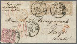 1862/64, 9 Kreuzer Fahlbraun Im Waager. Paar Und Einzeln In MiF Mit 3 Kreuzer Rosa, Sauber Entwertet Mit K2... - Baden