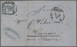"""1862, 6 Kr. Preussischblau Mit K2 """"MANNHEIM 16 MAI (1865)"""" Auf Faltbrief Nach Hanau Mit Rs. Transit-K1 Frankfurt... - Baden"""