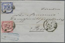 1862, 3 Kr Rot MiF Mit 6 Kr Ultramarin Auf Komplettem Faltbrief Mit Text Nach Pest/Ungarn, Die Marken Sind... - Baden
