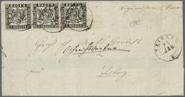 1868, Spektakuläre 3 Kreuzer-Frankatur Eines Ortsbriefes, 1 Kreuzer Schwarz, Vorzüglich Farbtiefer Und... - Baden