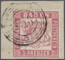 1862, Freimarke 3 Kreuzer Rosakarmin Mit Enger Zähnung, Auf Kleinem Briefstück Mit Nummernstempel... - Baden