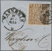 1862, 9 Kr.  Wappenausgabe Lebhaftbraun Mit Farbigem Hintergrund, Kleines Briefstück, Gestempelt Mit... - Baden