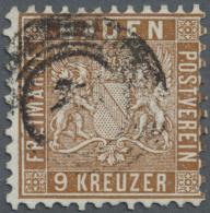 """1862, 9 Kr.  Wappenausgabe Lebhaftbraun Mit Farbigem Hintergrund, Gestempelt Mit Nr.-St. """"2.."""", Farbfrische Marke... - Baden"""