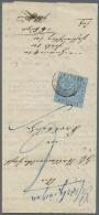 """1860, 3 Kr. Ultramarin Mit Nr.St. """"18"""" Und Hds. """"...rathingen"""" Auf Vordruck-Schreiben """"Liquid-Erkenntniß... - Baden"""