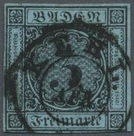1858, Freimarke 3 Kr. Schwarz Auf Lebhaftgrauultramarin, Allseits Voll/breitrandig, Sauber Entwertet Mit... - Baden