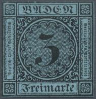 1858, 3 Kr. Schwarz Auf Blau, Ungebraucht Ohne Gummi, Farbfrische Marke, 2 Seiten Aussen An Der Randlinie... - Baden